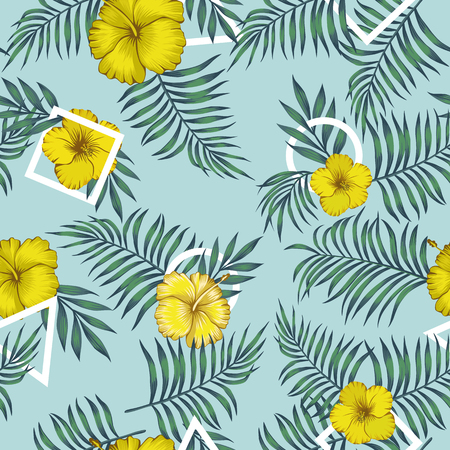 Gelbe Hibiskusblüten und exotische Blätter blaues nahtloses Muster mit weißem geometrischem Figurendreieck, quadratisch, rund auf blauem Hintergrund Vektorgrafik