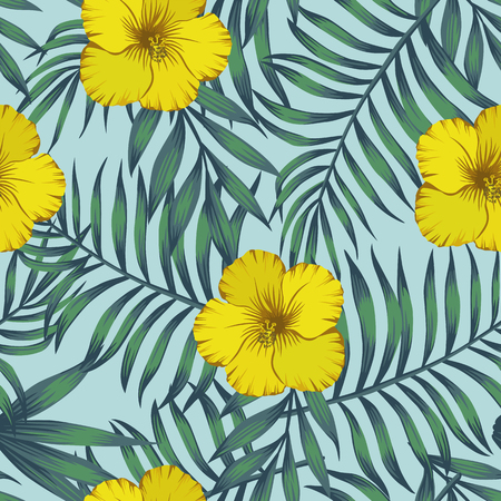 Yellow hibiscus flowers and exotic leaves blue tone seamless pattern on the blue background