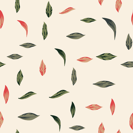 Vector leaves seamless pattern on the white background