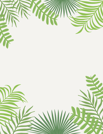 Tropical frame from flat green leaves on the white background. Vector foliage vertical poster