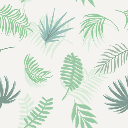 Flat floral composition from blue tone tropical branch seamless vector pattern on the white background.