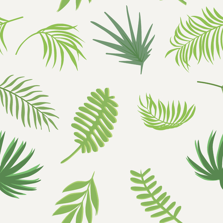Flat floral composition from green tone tropical branch seamless vector pattern on the white background. Ilustracja