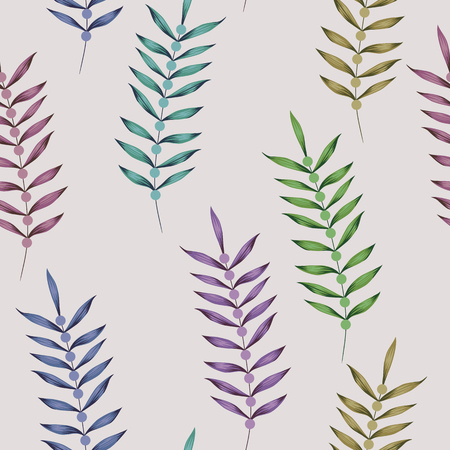 Multicolor vector vertical branch seamless pattern on the white background