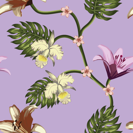 Tropical vector flowers and leaves seamless pattern on the violet background