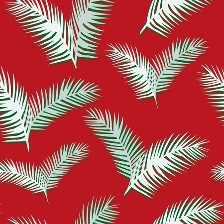 White green tropical palm leaves seamless pattern on the red background. Abstract flat composition Ilustracja