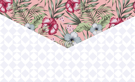 Exotic decor envelope angle tropical flowers and leaves on the pink background with geometric shapes Ilustracja