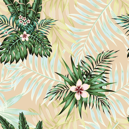 Nice exotic flowers plumeria and green tropical palm banana monstera leaves seamless vector pattern on the pink background. Trendy wallpaper Ilustracja