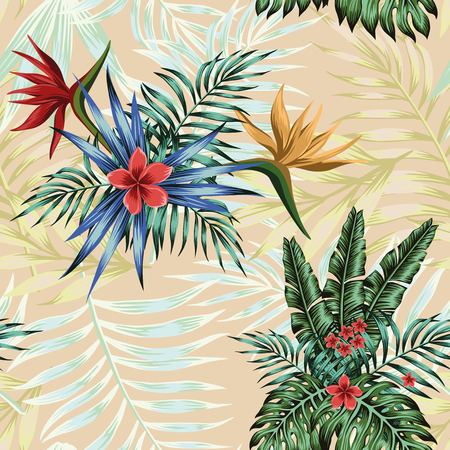 Cool exotic flowers plumeria, bird of paradise and green, blue tropical palm banana monstera leaves seamless vector pattern on the pink background. Trendy wallpaper Ilustracja