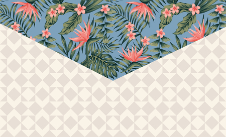 Tropical decor envelope angle exotic flowers and leaves on the blue background with geometric shapes