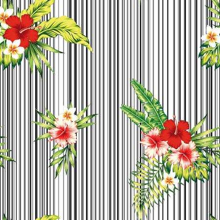 Tropical hibiscus, plumeria flowers and palm, banana, monstera leaves composition seamless pattern on the black white stripe background. Realistic vector wallpaper Ilustracja