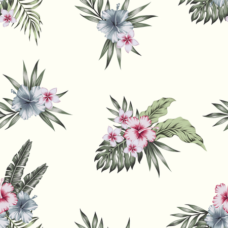 Tropical hibiscus, plumeria flowers and palm, banana, monstera leaves composition seamless pattern on the beige background. Realistic vector wallpaper