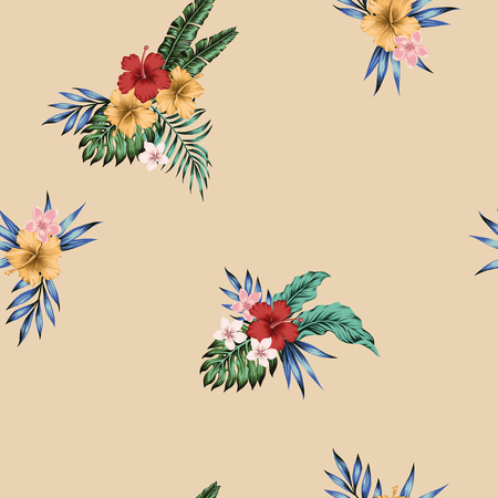 Vivid tropical hibiscus, plumeria flowers and palm, banana, monstera leaves composition seamless pattern on the beige background. Realistic vector wallpaper