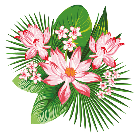 Floral composition with cool flowers pink lotus, plumeria, frangipani and tropical green leaves on the white background. Realistic vector print, summer wallpaper