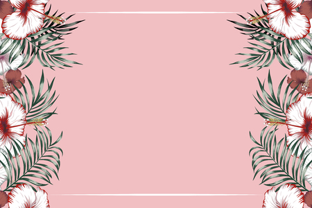 Horisontal tropical frame hibiscus flowers and exotic leaves on the pink background
