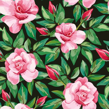 Hand drawn vector pink roses flowers, green leaves pattern seamless black background Illustration