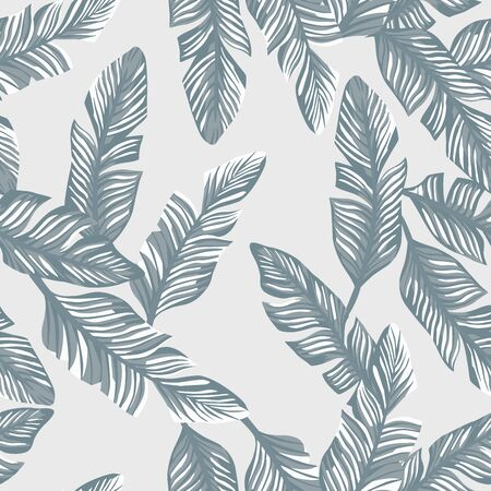 Tropical illustration realistic vector banana leaves seamless pattern gray style. Modern wallpaper