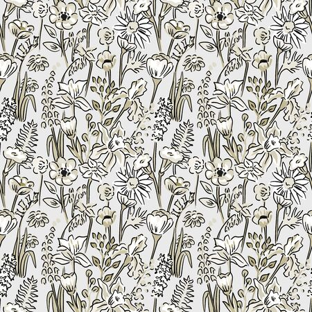 Meadow flowers seamles vector pattern  vintage style