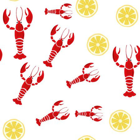 Vector illustration red lobster, crayfish and yellow lemon seamless pattern white background. Cool wallpaper Ilustracja