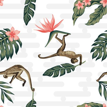 Tropical composition realistic vector monkey  keep in hand green palm leaves and tropic flowers seamless pattern geometric background. Trendy creative wallpaper Illustration