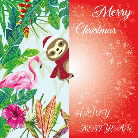 Popular slogan Merry Christmas and happy new year with falling snow, snowflake. Exotic bird pink flamingo and hand drawn cartoon cute lazy sloth peeps out from the tropical jungle. Funny vector illustrations. Xmas card, poster, wallpaper