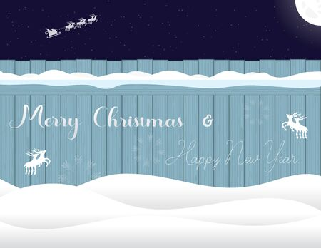 White letters written on the fence Merry Christmas and Happy New Year, deer and snowflake decoration. Greeting card, invitation, posters, banner on background starry night sky with moon. Vector xmas illustration