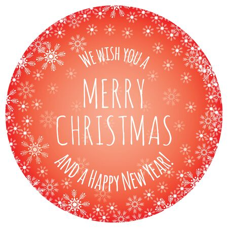 Slogan We wish you a Merry Christmas and a Happy New Year for congratulations favorite people. Christmas ball invitation posters banner on red background snowflake decoration. Vector xmas illustration
