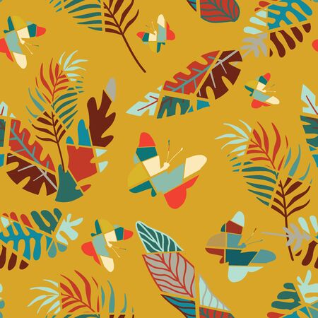 Cartoon handcrafted multicolor flat tropical leaves and trendy design insect butterflies. Colorful seamless vector yellow background. Vivid illustration pattern for textile, wrapping, creative party. Ilustracja