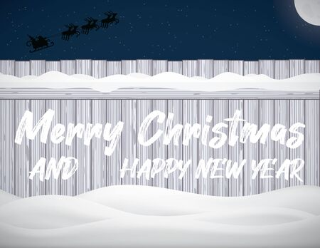 Holiday Vector Illustration With Lettering Merry Christmas Happy New Year Inscription on The Winter Fence With Snowdrift. Xmas Composition Christmas Eve. Santa Claus Flying on a Sleigh Pulled by Deer Against a Starry Sky Ilustracja