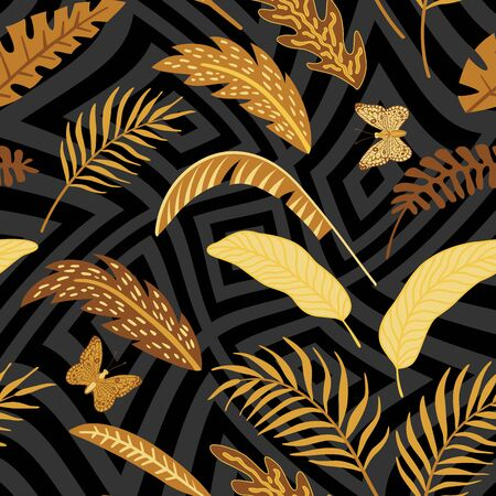 Golden and Chocolate Vector Leaves in Grayscale Geometric Background. Seamless Illustration Gold Butterfly Tropical Wallpaper. Beauty Foliage in Autumn Color. Repeat Fabric Exotic Pattern Backdrop