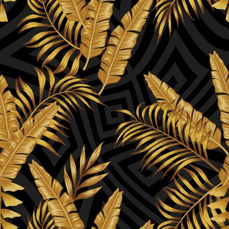 Golden Vector Banana, Fern Leaves in Grayscale Geometric Background. Seamless Prestigious Illustration Tropical Wallpaper. Beauty Foliage in Yellow Gold Color. Repeat Fabric Exotic Pattern Backdrop