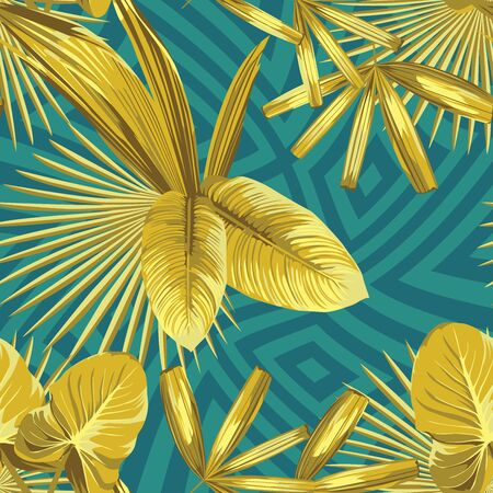 Vivid Golden Vector Leaves in Abstract Color Geometric Background. Seamless Illustration Gold Tropical Pattern Wallpaper. Beauty foliage in Uncommon Exclusive Color. Repeat Exotic Palm Banana Foliage.
