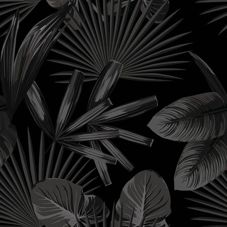 Tropical Vector Exotic Leaves Seamless Pattern in Monochrome Style. Beach Wallpaper in Grayscale Background. Trendy Illustration Beauty Foliage in Black White Color. Repeat Artistic Fabric Backdrop