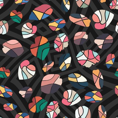 Creative handcrafted wallpaper multicolor flat style cut leaves fashion design. Monochrome seamless vector greyscale swirl background. Trendy illustration pattern for textile, wrapping, creative party Ilustracja