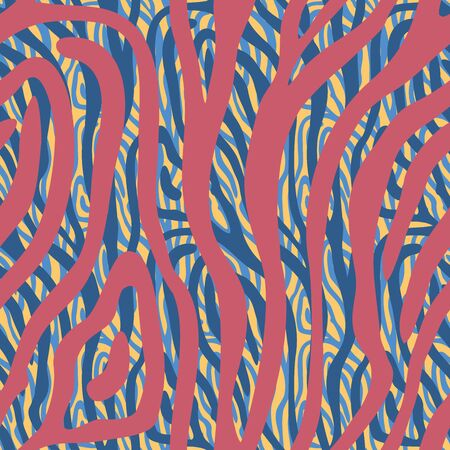 Abstract color zebra, tiger skin design. Animal skin texture seamless pattern. Vector creative background. Multicolor stripes repeat popular pattern. Endless trendy illustration for textile, wrapping. Ilustracja