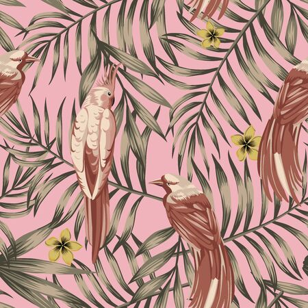 Brown Tropical Vector Exotic Leaves, Flowers and Birds Seamless Pattern in Abstract Style. Beach Wallpaper in Pink Background. Trendy Illustration Foliage and Animals. Repeat Artistic Fabric Backdrop.