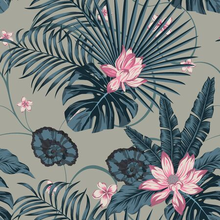Tropical Vector Leaves and Beauty Flowers Plumeria, Frangipani, Lily, Lotus Seamless Pattern in Blue Pink Style. Beach Wallpaper Exotic Background. Trendy Illustration Repeat Artistic Foliage Backdrop