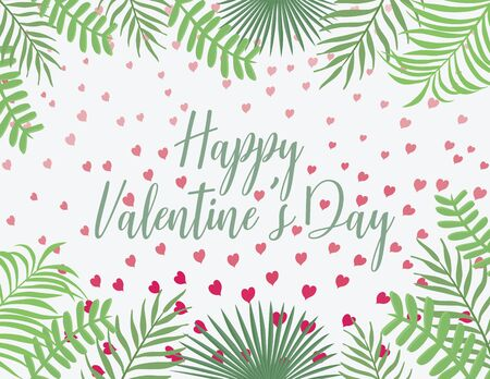 Valentines background with leaves and flying pink hearts. Festive illustration, cartoon flat style, hand drawn brush lettering with the wish of love. Happy Valentines Day text in middle invitations.
