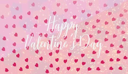 Slogan Happy Valentines Day wallpaper with pink hearts. Festive illustration, hand drawn letter with the wish of love and gold glitter. Congratulation Happy Valentines Day text in middle invitations.