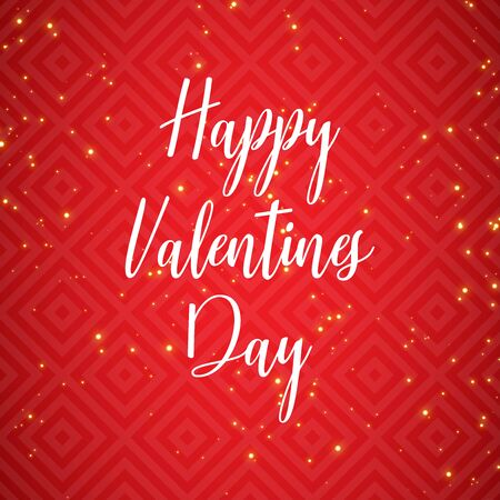 Hand drawn lettering Happy Valentines Day wallpaper on red geometric background. Festive illustration with gold glitter and wish inscription. Congratulation Valentines Day text in middle invitations.