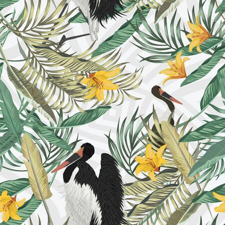 Tropic dark vanilla and light green leaves, yellow flowers lily folded in seamless illustration. Creative wallpaper Exotic birds stork, foliage repeating pattern on abstract gray geometric background.