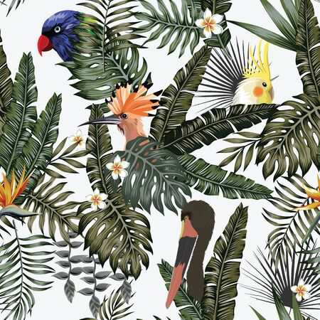 Realistic vector exotic bird parrot, hoopoe, stork in tropical jungle on white background. Seamless illustration wild life animals in their environment. Repeating pattern foliage and flowers wallpaper