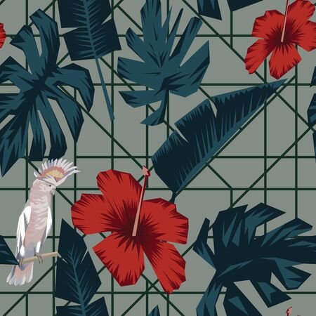 Abstract tropical composition consisting of banana and monstera leaves, red hibiscus flowers, sitting ara parrot in trendy cubism style. Seamless illustration wild life animals in their environment. Repeat pattern foliage and flowers wallpaper Stock Illustratie