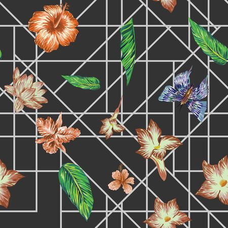 Hand drawn marker seamless composition consisting of exotic flowers hibiscus, lily, lotus, green leaves monstera and blue butterflies. Repeat pattern wallpaper geometric white line on black background