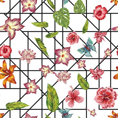 Hand drawn marker seamless composition consisting of exotic flowers hibiscus, lily, lotus, green leaves monstera and blue butterflies. Repeat pattern wallpaper geometric black line on white background