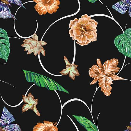 Hand drawn marker seamless composition consisting of orange flowers hibiscus, lily, lotus, green leaves and blue butterflies. Repeating miscellaneous vector pattern wallpaper black background with white curls.