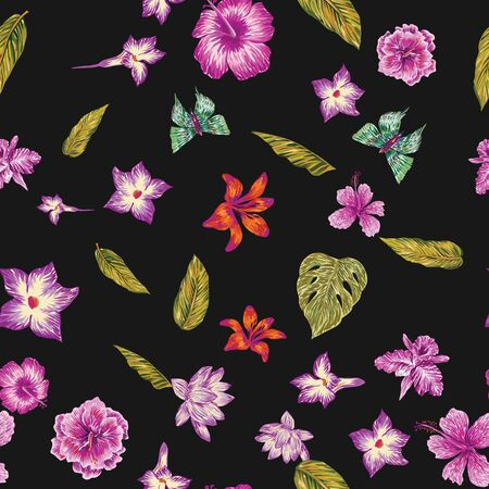 Hand drawn marker seamless composition consisting of violet flowers hibiscus, lily, lotus, khaki leaves monstera and green butterflies. Repeating vector pattern exotic night wallpaper black background Stock fotó - 134435324