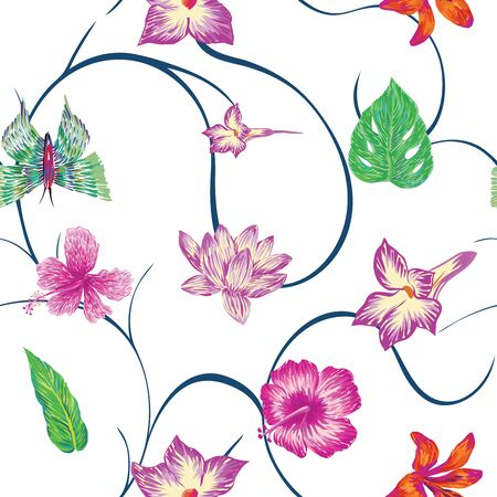 Hand drawn marker seamless composition consisting of purple flowers hibiscus lily lotus leaves and green butterflies. Repeating miscellaneous vector pattern wallpaper white background with blue curls.