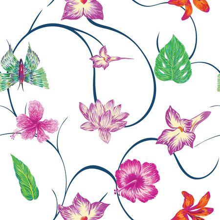 Handgezeichnete Marker nahtlose Komposition bestehend aus lila Blüten Hibiskus Lilie Lotusblätter und grünen Schmetterlingen. Wiederholen von verschiedenen Vektormustertapeten weißer Hintergrund mit blauen Locken. Vektorgrafik
