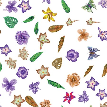 Hand drawn marker seamless composition consisting of orange flowers hibiscus, lily, lotus, green yellow leaves and blue butterflies. Repeating miscellaneous vector pattern wallpaper white background.