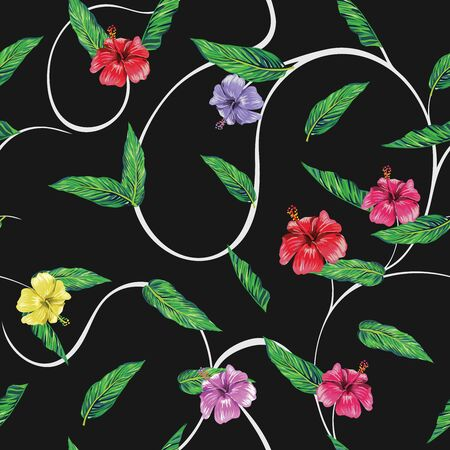 Vivid seamless vector composition consisting of exotic multicolor flowers hibiscus and green leaves. Repeating miscellaneous pattern beach wallpaper black background with white curls. Shirt design